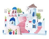 Стилизованный дом Santorini иллюстрация штока