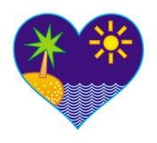 Стилизованный ландшафт острова, пальм и океана в форме сердца смогите конструктор каждый вектор оригиналов предмета evgeniy графи иллюстрация вектора