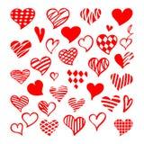 Стилизованный нарисованный вручную набор красных сердец Вектор co Валентайн Святого иллюстрация вектора