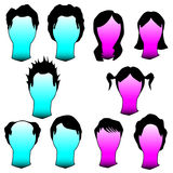 стили причёсок стрижек silhouette вектор Стоковые Фотографии RF