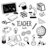 Стили руки рисуя для деталей учителя Doodle учителя стоковая фотография rf
