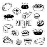Стили руки рисуя для слойки и пирога Слойка и пирог пекарни Doodle стоковое фото