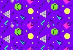 Стили ` s ` s-90 картины 80 Мемфиса безшовные на фиолетовой предпосылке стоковые изображения rf