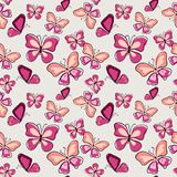 Стильная безшовная картина с бабочками нарисованными рукой иллюстрация вектора