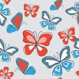 Стильная безшовная картина с бабочками на серой предпосылке иллюстрация штока