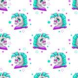Стильная безшовная картина с милой стороной пони шаржа Стоковая Фотография
