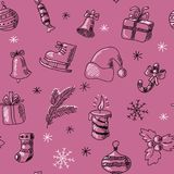 Стильная безшовная картина с нарисованными рукой символами рождества иллюстрация вектора