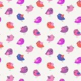 Стильная безшовная картина с птицами шаржа милыми бесплатная иллюстрация