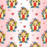 Стильная безшовная картина с сердцами акварели Элементы валентинки Иллюстрация влюбленности Стоковые Изображения RF