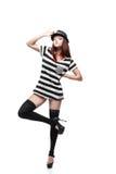 Стильная девушка в светотеневом платье стоковое фото