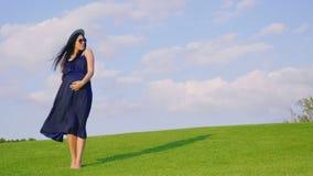 Стильная женщина в ожидании ребенка Стоящ на зеленом луге, ветер играет с ее длинными волосами сток-видео