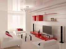 Стильная живущая комната с стильной красной мебелью Стоковые Изображения