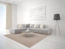 Стильная живущая комната с стильной красной мебелью Стоковые Изображения RF