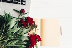Стильная компьтер-книжка с блокнотом и красивыми красными пионами на белизне Стоковое Фото