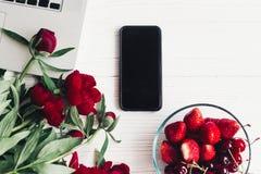 Стильная компьтер-книжка с телефоном, клубниками и вишнями и beautif Стоковые Фото