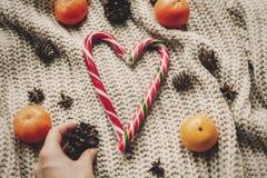 Стильная тросточка конфеты пипермента в форме сердца и конусах сосны и Стоковое Изображение