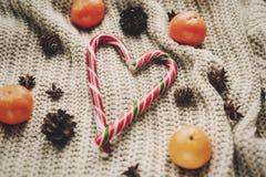 Стильная тросточка конфеты пипермента в форме сердца и конусах сосны и Стоковые Изображения