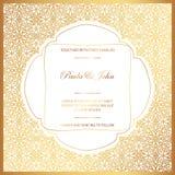 Стильное золото и белая карточка свадьбы Королевское винтажное Wedding Invit иллюстрация штока