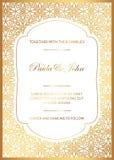 Стильное золото и белая карточка свадьбы Королевское винтажное Wedding Invit бесплатная иллюстрация