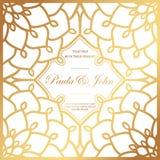 Стильное золото и белая карточка свадьбы Королевское винтажное Wedding Invit иллюстрация вектора