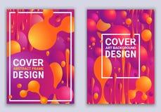 Стильные красочные градиенты и геометрические формы Красные и ультрафиолетов цвета Плакаты вектора с абстрактными шариками и жидк иллюстрация вектора