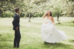 Стильные пары счастливых новобрачных представляя в парке на их день свадьбы Стоковая Фотография RF