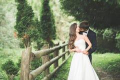 Стильные пары счастливых новобрачных представляя в парке на их день свадьбы Стоковые Изображения