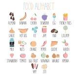 Стильный алфавит еды От a к z Алфавит сделанный из овощей, плодоовощей и фаст-фуда еда здоровая стоковые фотографии rf