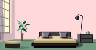 Стильный большой дизайн спальни с окном иллюстрация штока
