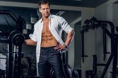 Стильный мужчина держит гантели в клубе спортзала Стоковое Изображение