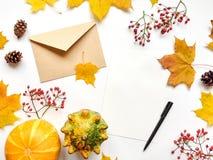 Стильный состав письма, тыкв, листьев осени, ягод Взгляд сверху на белой предпосылке Положение квартиры осени стоковая фотография