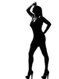 Стильный утомлянный despair женщины силуэта стоковые фотографии rf