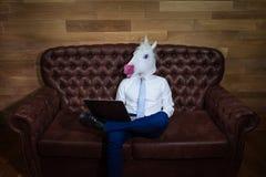 Стильный человек в элегантном костюме работая дома офис Необыкновенный молодой менеджер стоковые фото