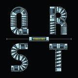 Стиль алфавита гидравлический в векторе шрифтов комплекта QRST шуточном иллюстрация штока