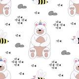 Стиль безшовной руки мультфильма медведя картины милой вычерченный стоковая фотография rf