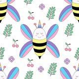 Стиль безшовной руки мультфильма пчелы картины милой вычерченный стоковая фотография rf