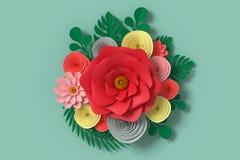 Стиль бумаги цветка, красочная роза, бумажное ремесло флористическое, муха бумаги бабочки на зеленой предпосылке, переводе 3d, с  Стоковое фото RF