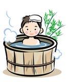 Стиль ванны бочонка японский иллюстрация штока
