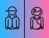 Стиль значка символа людей и женщин плоский изолированный на голубой и розовой предпосылке иллюстрация вектора