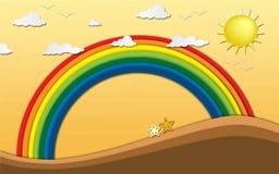 Стиль искусства бумаги origami Seascape с пляжем и радуга конструируют в иллюстрации Стоковое Изображение