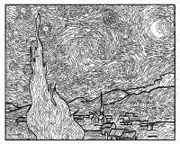 Стиль искусства ван Гога звездной ночи книжка-раскраски стоковые фотографии rf