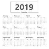 Стиль календаря 2019 простой Вектор на белой предпосылке Неделя начинает воскресенье иллюстрация штока