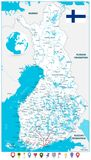 Стиль карты Финляндии и значков карты плоский Стоковая Фотография