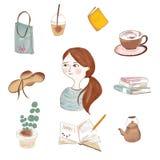 Стиль милой девушки ежедневный бесплатная иллюстрация