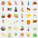 Китайские значки набор культуры, стиль мультфильма иллюстрация вектора