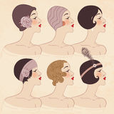 Стиль причёсок, головной убор и состав 1920s иллюстрация вектора
