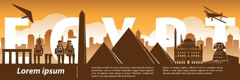 Стиль силуэта ориентира Египта известный, текст тема внутри, перемещения и туризма, оранжевых и коричневых тона цвета бесплатная иллюстрация