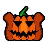Стиль страшного логотипа тыквы плоский Стоковые Изображения RF