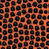 Стиль шаржа предпосылки призрака и апельсина черноты картины хеллоуина безшовный стоковое фото rf