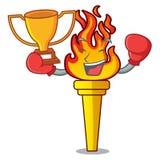 Стиль шаржа талисмана факела победителя бокса бесплатная иллюстрация